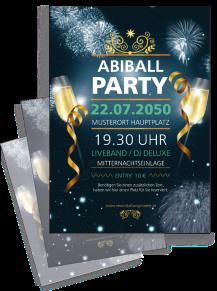 Flyer Abiball Feuerwerk Blau A4