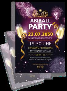 Flyer Abiball Feuerwerk Violett A4