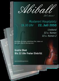 Flyer Abiball Geige A4 Tuerkis