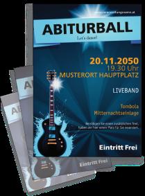 Flyer Abiball Gitarre A4 Blau
