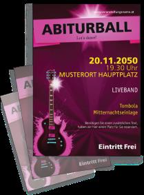 Flyer Abiball Gitarre A4 Pink