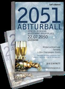Flyer Abiball Goldrausch Blau A4