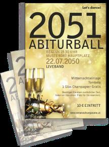Flyer Abiball Goldrausch Gold A4