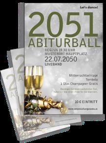Flyer Abiball Goldrausch Silber A4