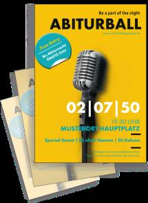 Flyer Abiball Mikrofon Gelb A4