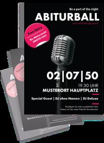Flyer Abiball Mikrofon Schwarz A4