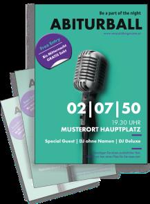 Flyer Abiball Mikrofon Tuerkis A4