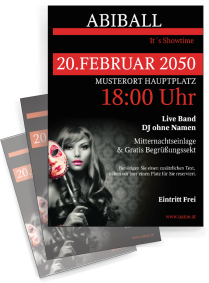 Flyer Abiball Miss Carneval A4 Rot