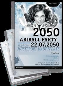 Flyer Abiball Pinup Blau A4