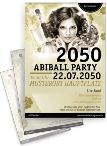 Flyer Abiball Pinup Gold A4