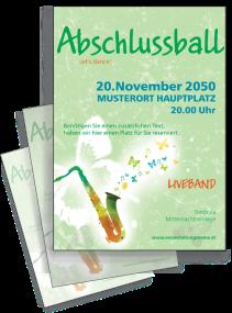 Flyer Abiball Saxophon A4 Gruen