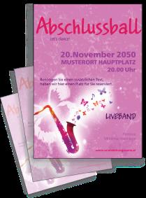 Flyer Abiball Saxophon A4 Rosa