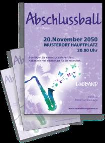 Flyer Abiball Saxophon A4 Violett