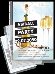 Flyer Abiball Sektflasche Blau A4