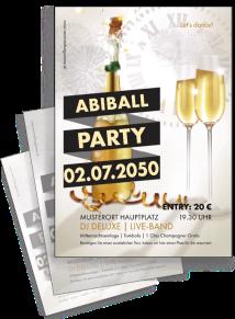 Flyer Abiball Sektflasche Gold A4