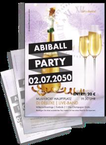 Flyer Abiball Sektflasche Violett A4