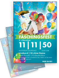 Flyer Fasching Clown A4 Blau