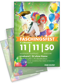 Flyer Fasching Clown A4 Gruen