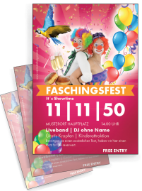 Flyer Fasching Clown A4 Pink