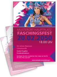 Flyer Fasching Samba A6 Pink