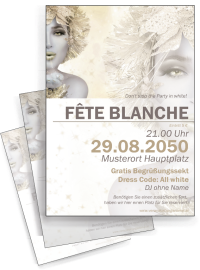 Flyer Fete Blanche Eiskoenigin A4 Gold