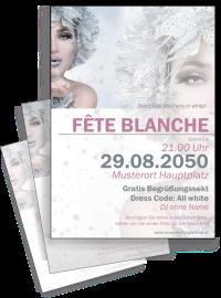 Flyer Fete Blanche Eiskoenigin A4 Silber