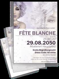 Flyer Fete Blanche Eiskoenigin A4 Violett