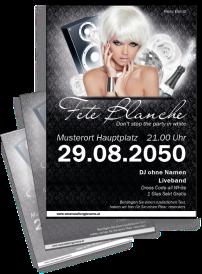Flyer Fete Blanche Floral A4 Schwarz