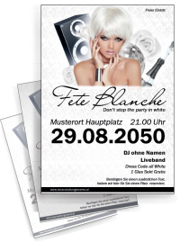 Flyer Fete Blanche Floral A4 Weiss
