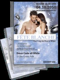 Flyer Fete Blanche Paar Blau A4