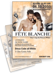 Flyer Fete Blanche Paar Orange A4