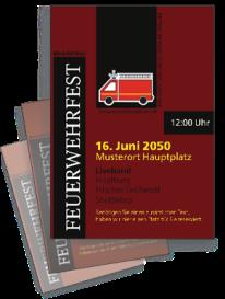 Flyer Feuerwehrfest Auto Braun A4 Einseitig