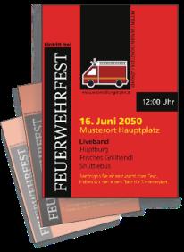 Flyer Feuerwehrfest Auto Rot A4 Einseitig