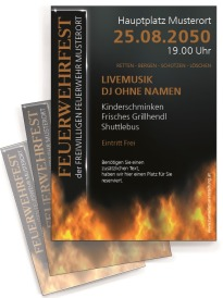 Flyer Feuerwehrfest Fire Dept Orange DIN A4