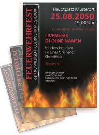 Flyer Feuerwehrfest Fire Dept Rot DIN A4