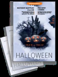 Flyer Halloweenparty Hand A5 Blau Zweiseitig