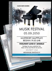 Flyer Musik Melody Blau A4