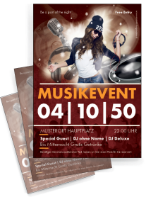 Flyer Musikevent Party Orange A4