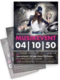 Flyer Musikevent Party Pink A4