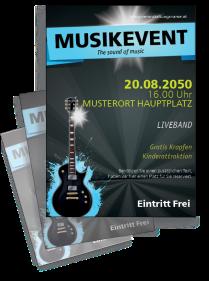Flyer Musikfest Gitarre Blau