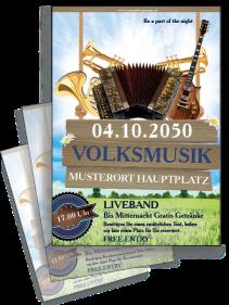 Flyer Musikfest Instrumente Blau