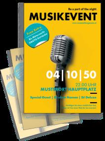 Flyer Musikfest Mikrofon A4 Gelb