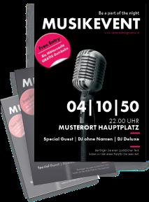 Flyer Musikfest Mikrofon A4 Schwarz