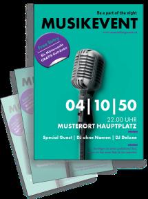 Flyer Musikfest Mikrofon A4 Tuerkis