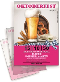 Flyer Oktoberfest Craft Beer A4 Pink