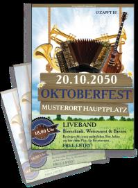 Flyer Oktoberfest Instrumente Blau