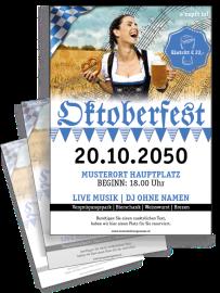 Flyer Oktoberfest Noten A4 Blau Zweiseitig