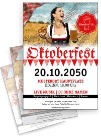 Flyer Oktoberfest Noten A4 Rot Zweiseitig