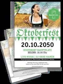 Flyer Oktoberfest Noten A5 Grün Zweiseitig