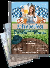 Flyer Oktoberfest Tracht A4 Blau